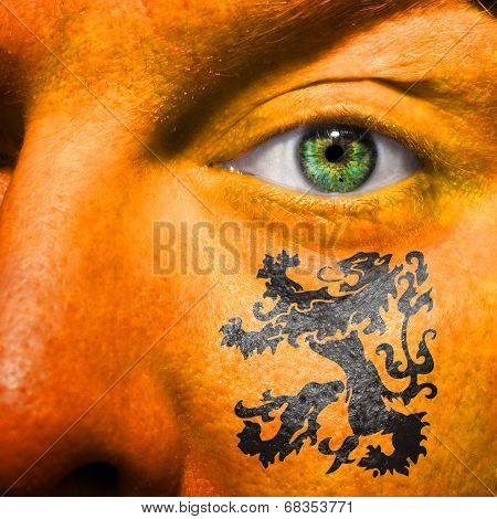 Dutch Lion Painted On Orange Face