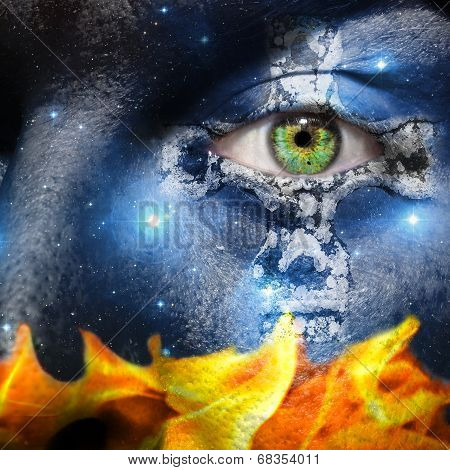 Face With Seven Sisters Constellation And A Celtic Cross With Flames
