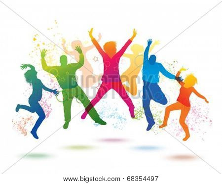 Colorful background with dancing people.