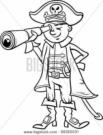 Pirate Boy Cartoon Coloring Page