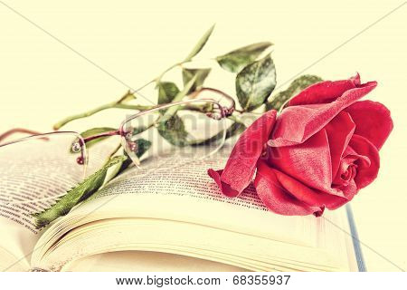 Book And Red Rose With Glasses On Pages Of Book, Romantic Vintage Look