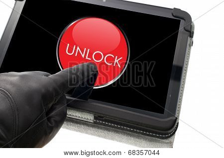 Online Mobile Unlocking Concept With Hand Wearing Black Glove Pointing A Touch Screen