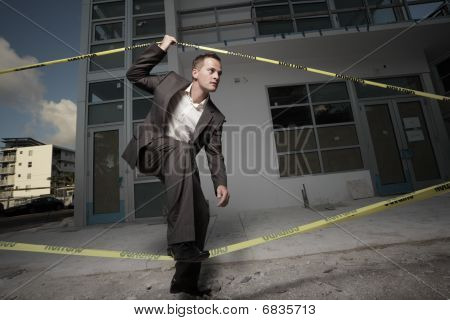 Man leaving a construction site