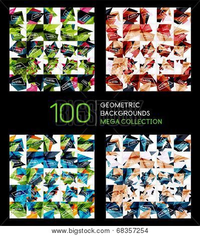 Huge mega collection of 100 abstract backgrounds, business brochure covers