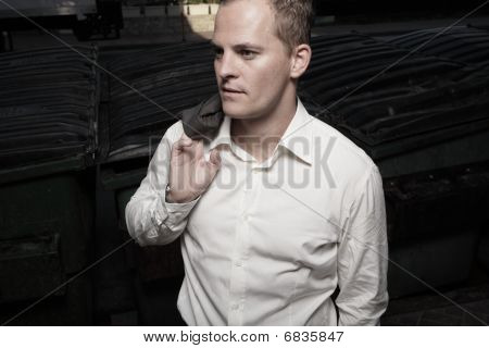 Businessman glancing away