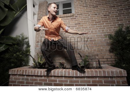Man balancing on a ledge