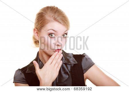 Portrait Of Surprised Businesswoman Shocked Woman