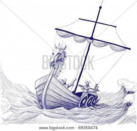 Long boat drakkar vector drawing