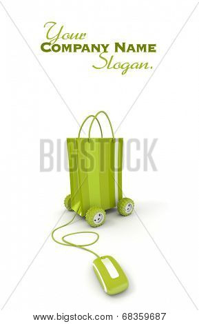 shopping bag on wheels connected to a computer mouse in green shades