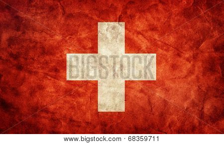 Switzerland grunge flag. Vintage, retro style. High resolution, hd quality. Item from my grunge flags collection.