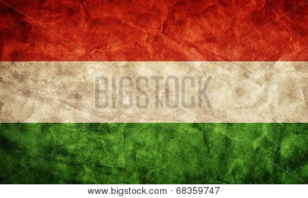 Hungary grunge flag. Vintage, retro style. High resolution, hd quality. Item from my grunge flags collection.