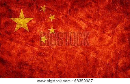 China grunge flag. Vintage, retro style. High resolution, hd quality. Item from my grunge flags collection.