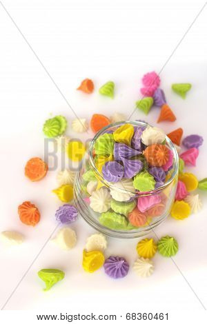Colorful Candy In Glass Saucer And Bowl Isolated On White Background