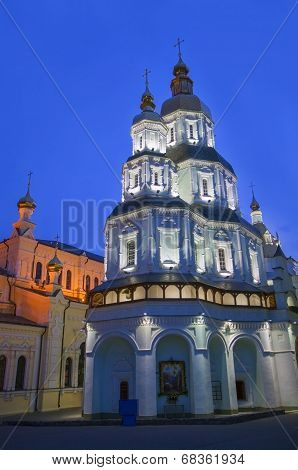 Cathedral of the Holy Virgin Protection at night.