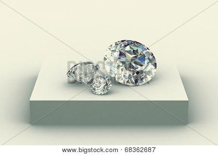 Diamond On White Podium