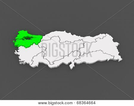 Map of Marmara Region. Turkey. 3d