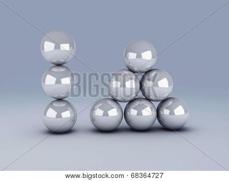 white spheres in equilibrium