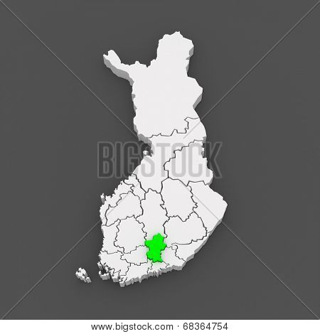 Map of Paijanne Tavastia. Finland. 3d