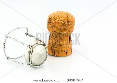 clasp and champagne corks, symbol photo for celebrations, enjoyment and consumption of alcohol