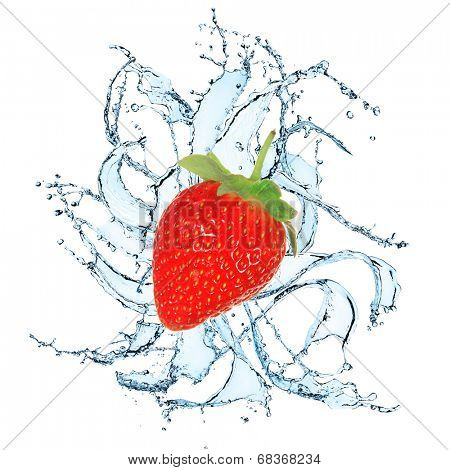 Fresh Strawberries with water splash over white background