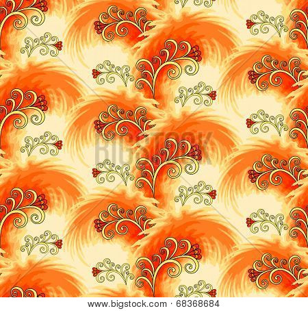 Seamless Orange Pattern Imitating Plumelets