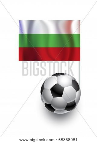 Illustration Of Soccer Balls Or Footballs With  Pennant Flag Of Bulgaria  Country Team