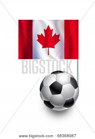 Illustration Of Soccer Balls Or Footballs With  Pennant Flag Of Canada  Country Team