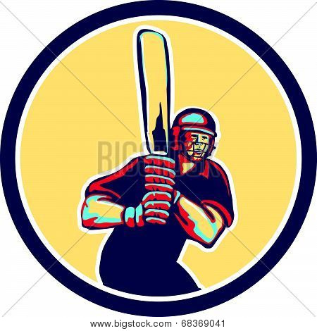 Cricket Player Batsman Circle Retro