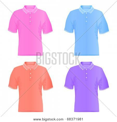 Men polo shirts. Vector illustrations.