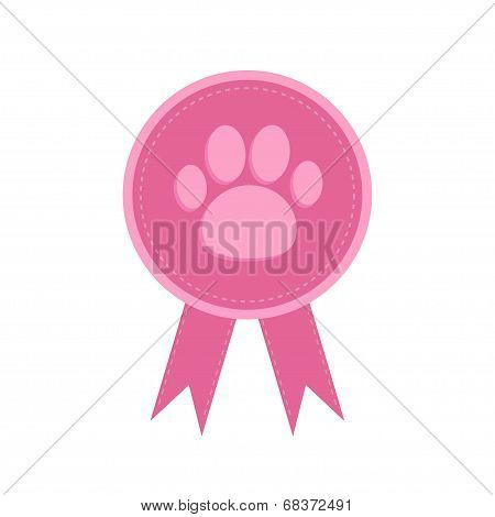 Badge with dog cat paw print and ribbons. Award icon in flat design style. Dash line.