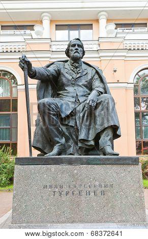 Sculpture Of Ivan Turgenev In Saint Petersburg, Russia