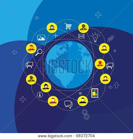 Social Media & Network Concept Vector With Flat Design Icons