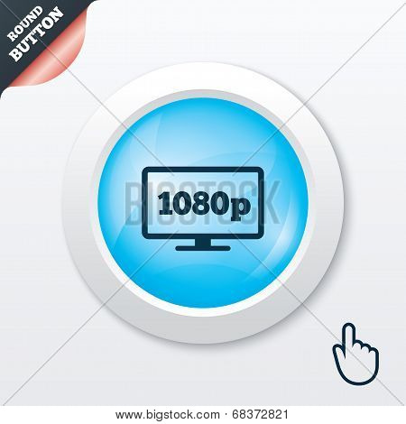 Full hd widescreen tv. 1080p symbol.