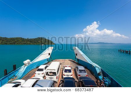Trat, Thailand - October 25 : Tourists From Koh Chang Go Ashore At Ferry Boat Quay On October, 2013