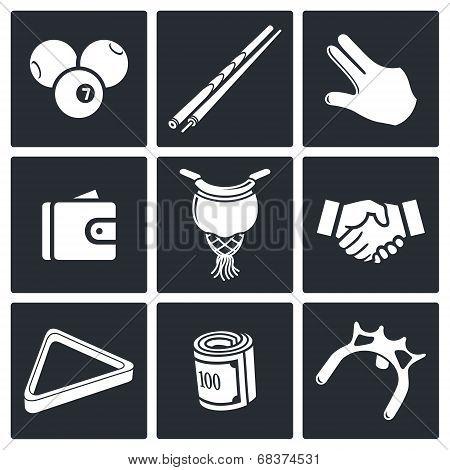 Billiard icon collection