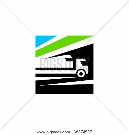 Railway and road transportation abstract sign