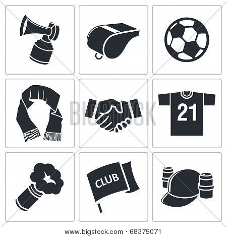 Attributes Soccer fan icon set