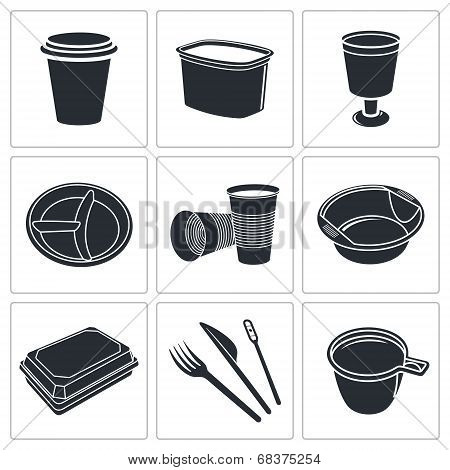 Disposable tableware icon collection