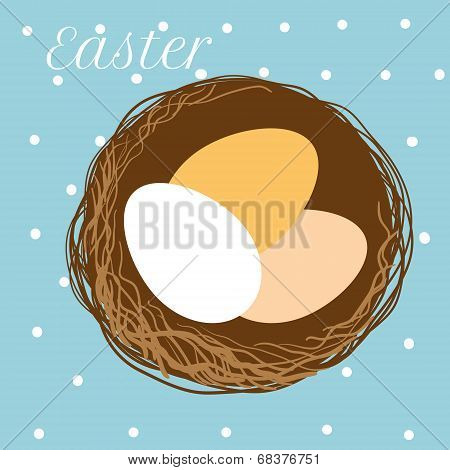vector Easter eggs in nest