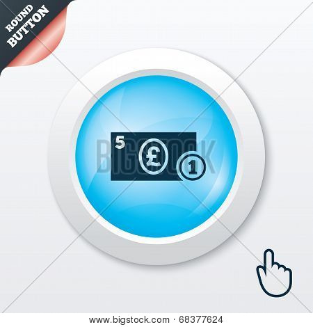 Cash sign icon. Pound Money symbol. Coin.