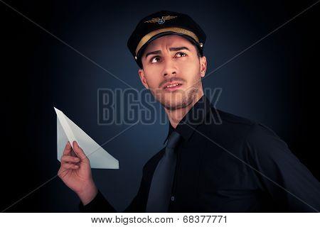 Pilot Launching Paper Airplane