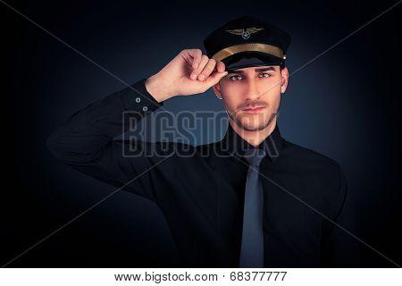 Pilot Salute Low Key Portrait