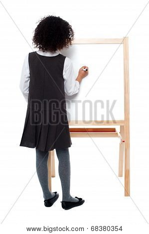 School Girl Writing On White Board