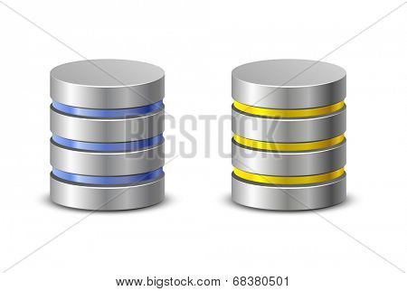 Database icons. Network backup icons. Vector illustration