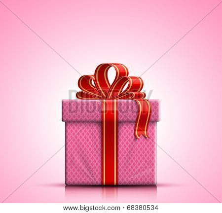 Valentine gift box with red ribbon and bow on pink background. Vector illustration