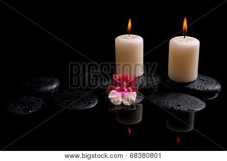 Beautiful Spa Concept Of White And Red Orchid (cambria), Candles On Zen Stones With Drops, Reflectio