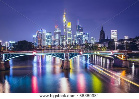 Frankfurt am Main, Germany Financial District skyline.