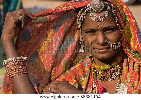 Portrait Of A India Rajasthani Woman