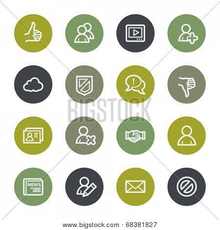 Community. Social media web icons set, color buttons