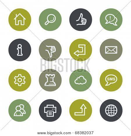 Basic web icons set, color buttons